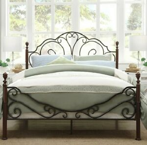 King Size Poster Bed - Bronze Metal and Cherry Finish - Beautiful
