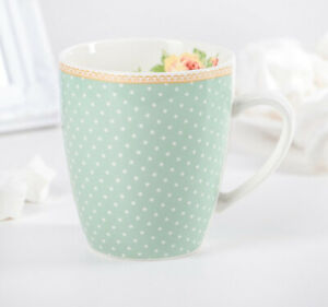 12 fl oz Porcelain Mug in Turquoise with Polka Dot Print French Country Style