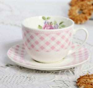 8 fl oz Porcelain Tea Cup and Saucer with Pink Roses Floral Pattern