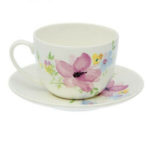 Porcelain Tea Cup and Saucer with Freesia Flowers Floral Pattern. 8 fl oz Teacup