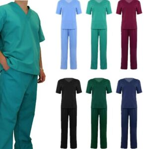 Medical Doctor Nursing Men Women Scrub Set Top Pants Hospital Uniform Costume US