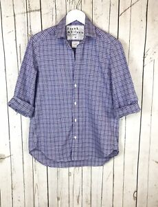 Frank Eileen Womens Blue Check Plaid Open Collar EILEEN Cotton Blouse XS NEW $64.99