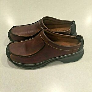 Clarks Women's Brown Leather Slip Low Back Loafer Shoes Size 6.5 M EXCELLENT