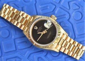 Rolex 69138 From 1990 Crown Collection Onyx Dial 18k Gold Ladies Datejust