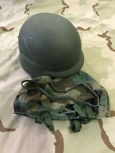 US MILITARY PASGT HELMET CHIN STRAP WOODLAND CAMO COVER NSN 8470-01-092-7527 M1