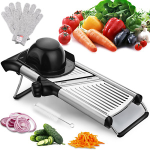 Adjustable Mandoline Slicer with Free Cut-Resistant Gloves and Brushes Stainless