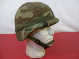 US Army PASGT Ground Troop Helmet made w/Kevlar w/Woodland Camo Cover X-Sm #1
