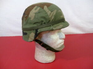 US Army PASGT Ground Troop Helmet made w/Kevlar w/Woodland Camo Cover X-Sm #2