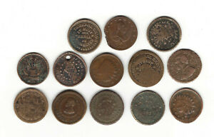 15.  LOT OF 13 CIVIL WAR TOKENS: LOWER GRADES, PATRIOTIC, 1 HOLED