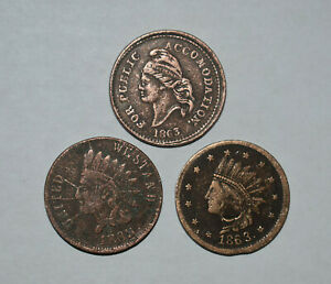 18. CIVIL WAR TOKENS: X 3 = NOT ONE CENT, US COPPER & BROS PIE BAKERY ALBANY NY