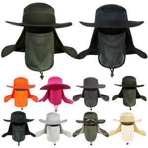 Outdoor Hiking Fishing Hats Sun Protection Neck Face Flap Cap Wide Brim For Mens