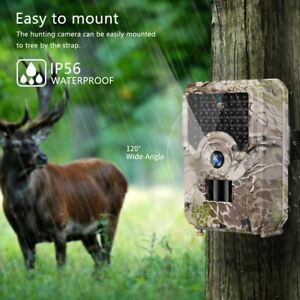 Trail Camera IP56 Waterproof 12MP Outdoor Hunting Camera w/ No Glow Night Vision