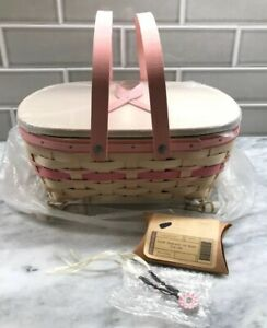 Longaberger NEW LARGE 2008 Whitewashed Horizon of Hope Pink Ribbon Basket COMBO