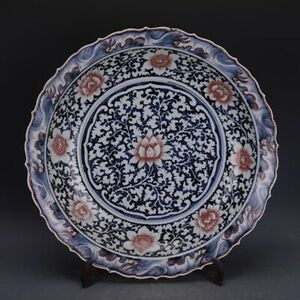 Chinese antique Yuan Blue and white Glazed red flowers pattern porcelain plate