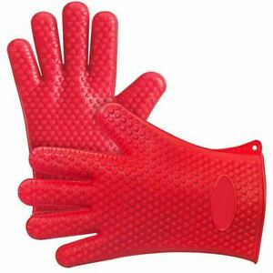 Silicone Oven BBQ Grill Cooking Baking Gloves, Heat Resistant  - 1 PAIR - New