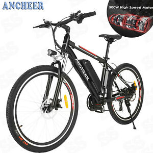 ANCHEER 500W 26in Cycling E-Bike 21 Speed Shifter Electric Mountain City Bicycle