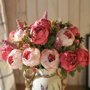 13 Heads Vintage Artificial Fake Peony Silk Flowers Bouquet Party Home Decor US