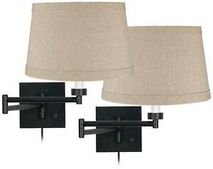 Espresso Bronze Natural Linen Swing Arm Wall Lamps Set of 2