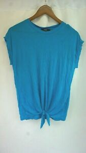 NWT Diesel Womens T-Fuxi-A Tropical Blue Front-Tie Soft T-Shirt Small