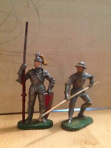 ELASTOLIN Knights 2 VIntage Pikeman Jouster Lancer Toy Soldiers Germany