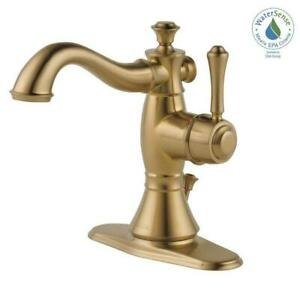 Delta Cassidy Single-Handle Bathroom Faucet with Metal Drain Champagne Bronze