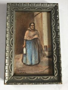 Antique Miniature Painting Lovely Woman Period Frame Signed -  Old  Collection