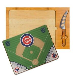 CHICAGO CUBS Picnic Time Icon Wood Glass Stainless Cutting Board and Knife