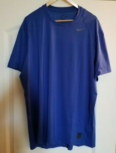 Mens Nike Pro Dri-Fit Fitted Short Sleeve Shirt Size 2XL Blue