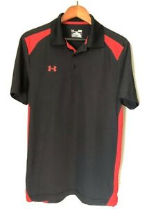 UNDER ARMOUR GOLF POLO SHIRT Men's Size Small Black Red -LOOSE HEAT GEAR EUC