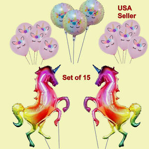 GIANT HOLOGRAPHIC RAINBOW UNICORN FOIL LATEX BALLOONS Baby Shower Birthday Party