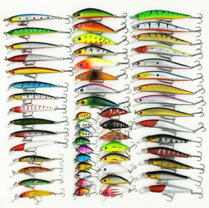 US 56pcs Lot Mixed Minnow Fishing Lures Bass Baits Crankbaits Fish Hooks Tackle