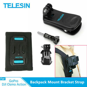 TELESIN Backpack Mount Bracket Strap and 360° Rotary Clip Clamp Mount for GoPro