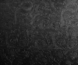 VINYL SHIPPED FOLDED Black Western Embossed Floral Faux Leather Vinyl Upholstery