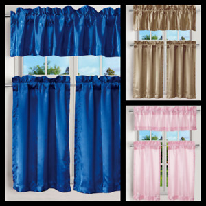 3PC SATIN KITCHEN VALANCE/TIER HALF WINDOW CURTAIN PANEL SOLID COLORS ROD POCKET