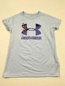 Under Armour NWT Girl's Youth UA Loose Big LOGO Top Light Blue S M XL 8 10 12 16 $12.95