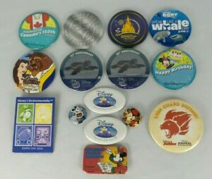 Disney Pin Back Buttons 1993-Present Lot of 15