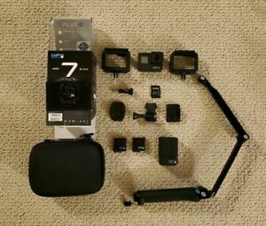 Pre-owned Gopro Hero 7 Black w 3 Way Stick 2 Batteries Cases 256gb Card EXTRAS