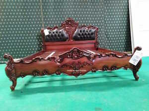 Super King Dark Mahogany Designer bed with chesterfield gothic design upholstery