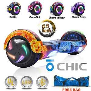 CHIC Electric Hoverboard Bluetooth LED Smart Self Balancing Scooter UL 2272