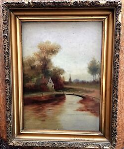 Original Oil Antique Painting Home on the River On Board 18quot; x 23quot; $69.00