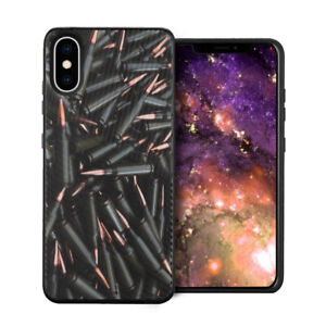 Cute Embossed Hybrid Slim Armor Black Case Cover For iPhone Xs Max - Bullets