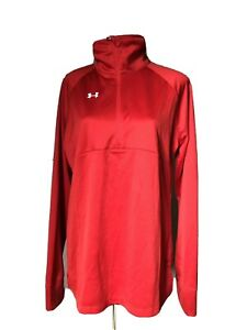 NWT Under Womens Armour Scout II 1 4 Zip Pullover Red Size LG Large Semi fitted $28.00