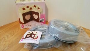 Wilton Heart Tasty Fill non-stick recessed pan set NIB instructions and recipes