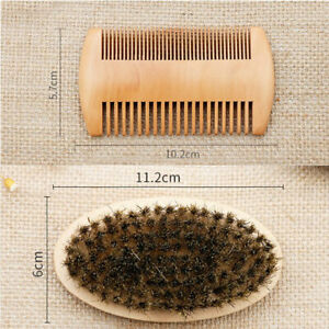 Wooden Gents Men Boar Bristle Shaving Moustache Beard Brush And Comb Set Quality