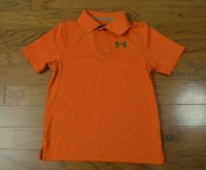 Boy's UNDER ARMOUR Orange Polo Shirt Golf Size Youth Small