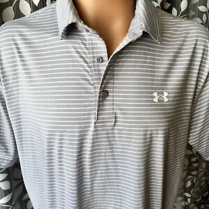 Under Armour Men's Polo Shirt Heat Gear Gray White Stripes 2XL Loose Fit