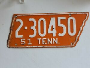 1951 Tennessee shape orange & white license plate