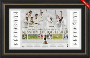 Mission Accomplished 2019 Australian Ashes Team Signed Lithograph Framed