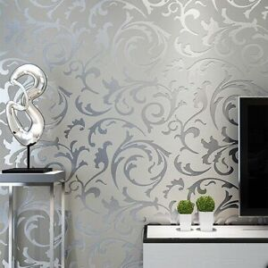 3D Victorian Wallpaper Paper Silver Floral Living Room Wall Coverings Sticker