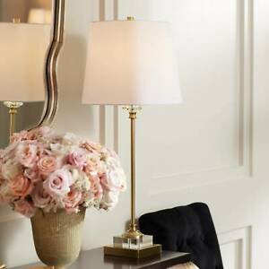 Traditional Buffet Table Lamp Gold and Crystal Shaped Shade for Dining Room